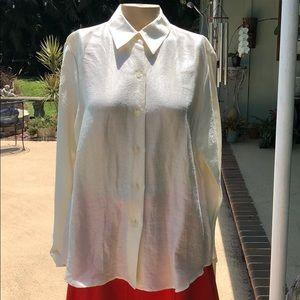 Linda Allard Ellen Tracy sz 12 Blouse ivory shirt